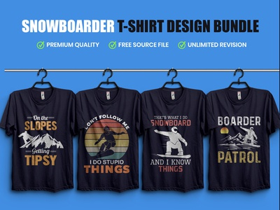 SnowBoarder Typography T Shirt Design Bundle