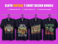 Sloth Vintage Typography T Shirt Design Bundle - Hello Dribble