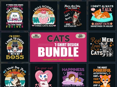 Cat T-Shirt Design Bundle Free Download vector illustration vector t shirt t shirt design merch by amazon ui logo merch by amazon shirts cat shirt shirts typography tshirt design typography tshirt typography tshirts tshirt tshirt design cat tshirt design
