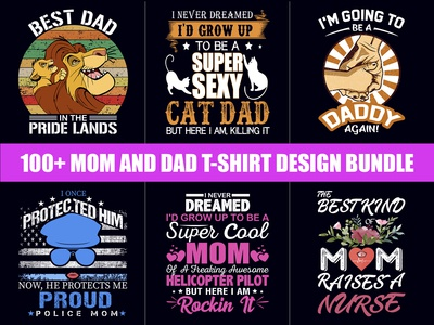 Best Selling Mom and Dad T Shirt Design Bundle - Hello Dribble