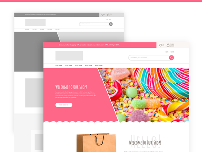 Candy Store | Wireframe to High Fidelity agency typography frontend development ecommerce design ux ui low-fidelity frontend design adobe xd ux design ui design