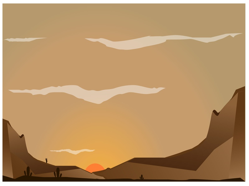 DESERT LANDSCAPE WHEN SUNSET TIME landscape illustration digital illustration design illustrations design illustration sunset