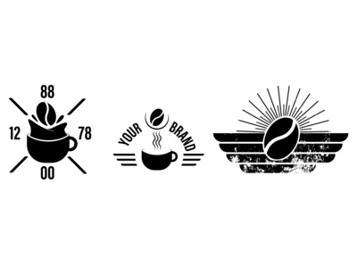 set coffee logo simple modern logo logo branding vector simple logo design