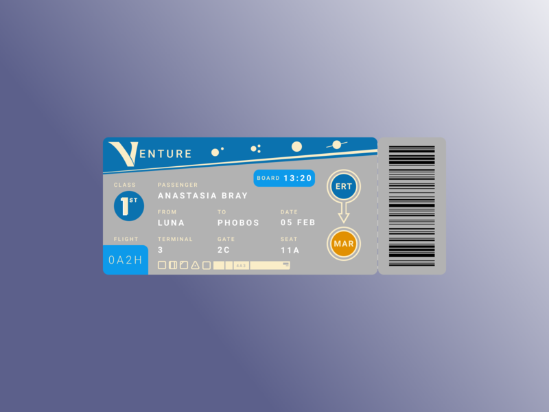 Boarding Pass Daily UI ui logo design space vector illustration daily ui challenge