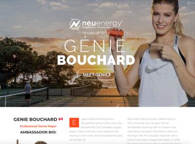 Neuenergy x Genie Bouchard 2018 - Landing Page