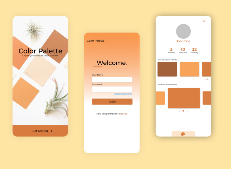 Color Pallete App Design palette design app ux ui minimal figma