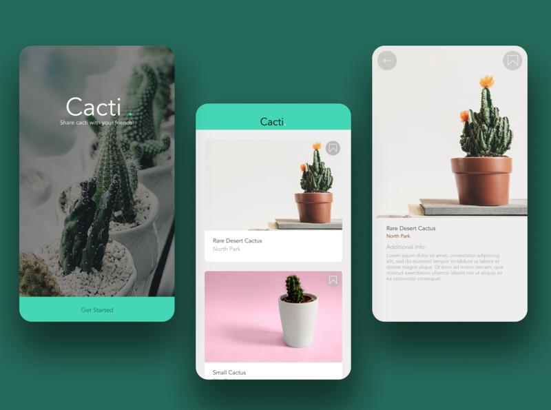 Cacti Photos Sharing App app ui ux minimal figma design