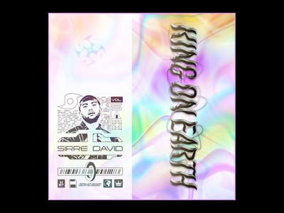 KING ON EARTH   commission work chrome text lofi hiphop glitch art maximalism retrowave typography futurewave acid design chrome type