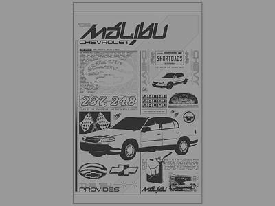MALIBU shortdads lofi illustration maximalism design chrome typography futurewave acid design
