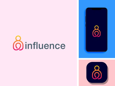 influence minimal design logo icon app