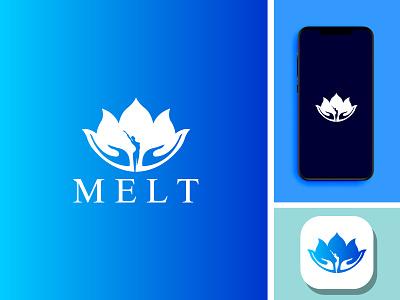 melt minimal logo design icon app