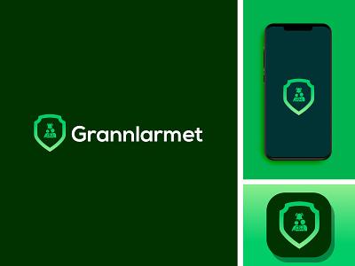Grannlarmet minimal logo design icon app