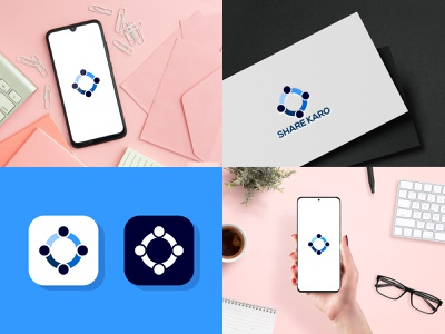 SHARE KARO vector graphic design branding flat illustrator minimal design icon app logo