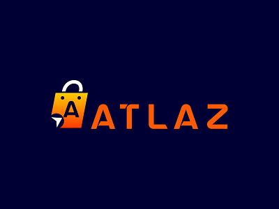 ATLAZ icon brand identity designr flat logo minimal logo e commerce logo store logo graphic design logo design logo atlaz