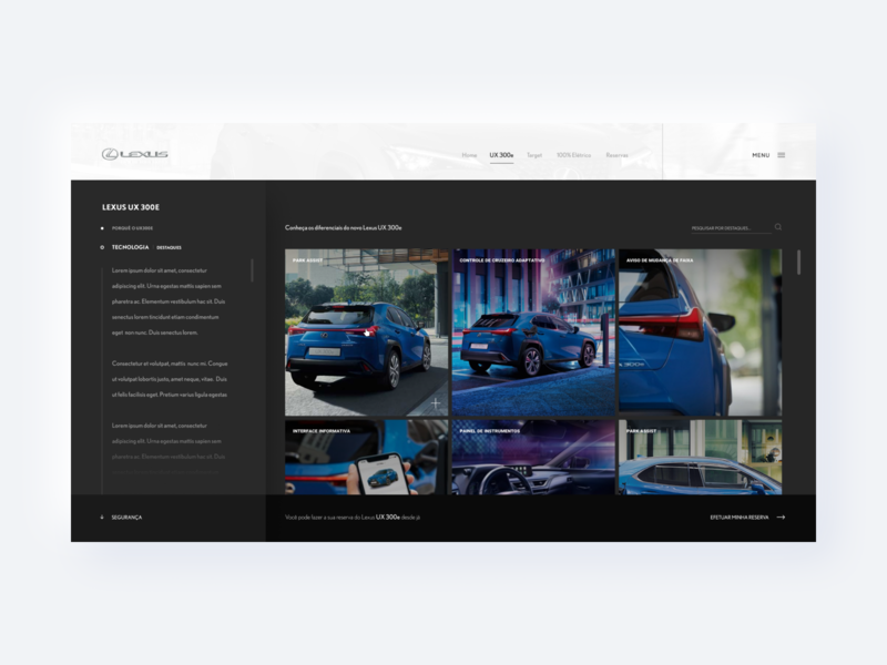 Lexus - Website product text alignment gallery interaction images grid ux300 ux japan lexus electric auto car