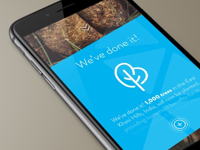 We've Done It read more expand mockup blue. line icons user interface simple design ios app trees non profit