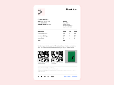 Daily UI 017. Email Receipt museum mailbox mail receipt receipt mailer design webdesign web ui ui design interfacedesign dailyui adobexd