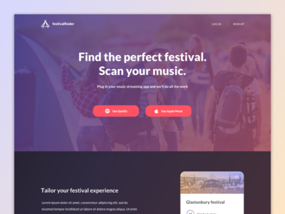 Festival landing page
