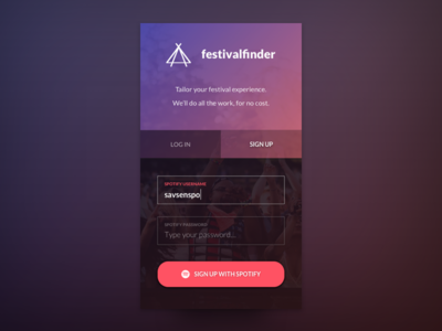 festivalfinder - Mobile sign up