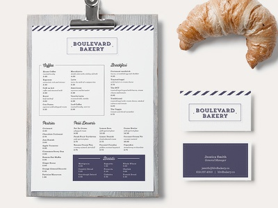 Boulevard Bakery menu business cards bakery food print