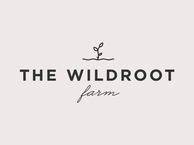 The Wildroot Farm logo farm plant branding logo