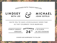 Lindsey & Michael Invitations