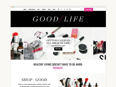 Good / Life healthy living ecommerce branding design development website