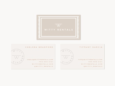 Witty Rentals typography branding business cards