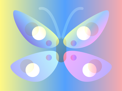 Candy colors butterfly transparency gradients candy butterfly