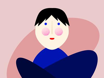 Person textured cheeks geometric texture portrait illustration person