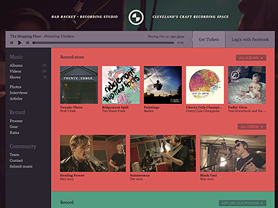 badracket.com v5 is live! music album audio player video vimeo soundmanager2 recording record facebook