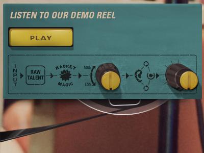 Demo Reel Player ui website navigation menu recording grunge vintage