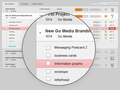 Due today: Project List ui website application project saas