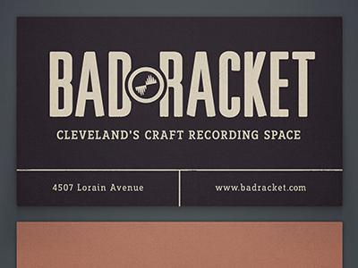 Bad Racket Business Card business card music recording studio typography branding identity retro vintage slab serif logo tagline