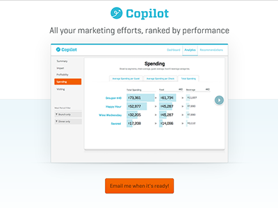 Copilot Landing Page landing page screenshots carousel photo gallery signup button gradient