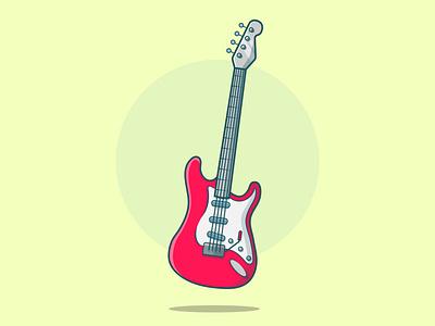 Electric Guitar vector illustration flat design electric guitar music music art icon creative vector minimal illustrator illustration graphic design flat design art