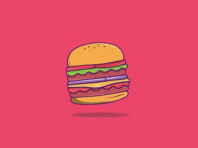 Burger food illustration fast food burger icon creative vector minimal illustrator illustration graphic design flat design art