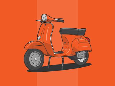 Vintage Vespa Primavera 1975 oldschool vintage vintage design motor art scooter vespa icon creative vector minimal illustrator illustration graphic design flat design art