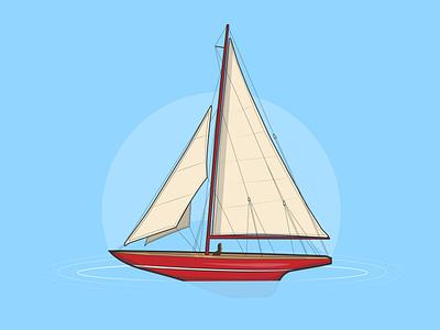 Set Sail sea ocean life sailboat ship icon creative vector minimal illustrator illustration graphic design flat design art