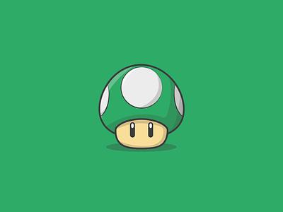 1Up super mario nintendo character design icon creative vector minimal illustrator illustration graphic design flat design art