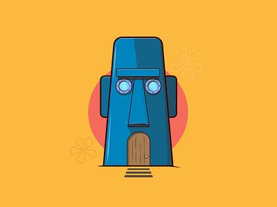 Bikini Bottom squidward spongebob squarepants flat design creative vector minimal illustrator illustration graphic design flat design art