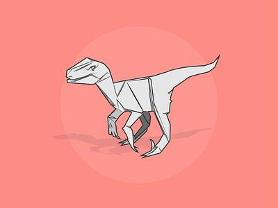 Paper-Rap velociraptor dinosaur origami flat design creative vector minimal illustration graphic design flat design art