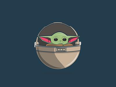 Baby Yoda mandalorian yoda starwars character design flat design creative vector minimal illustration graphic design flat design art