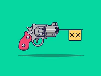 Bang! bang revolver flat illustration flat design icon illustrator creative vector minimal illustration graphic design flat design art