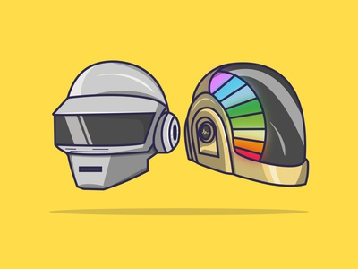 Daft-Bye daftpunk character design flat design creative vector minimal illustration graphic design flat design art
