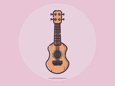 Ukulele ukulele music icon flat design illustrator vector minimal illustration graphic design flat design art