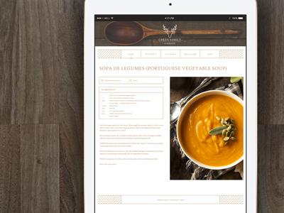 Green Family Cookbook - Recipe Page design web design graphic branding
