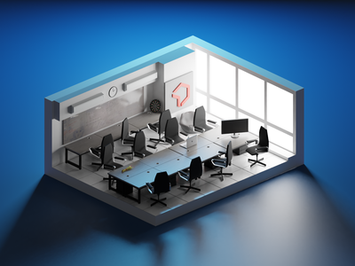 VentureDive Office 3d design office interior model 3d illustrations blender illustration 3d