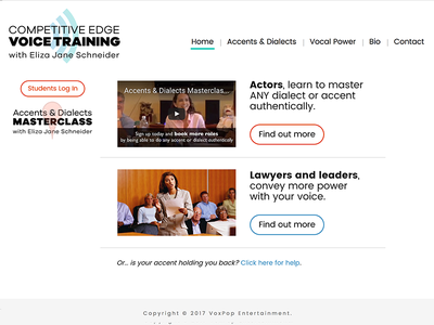Website for Competitive Edge Voice Training voiceover acting voice website logo branding