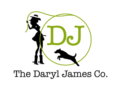 Logo for The Daryl James Company - Large terrier cowgirl rep commercial logo branding